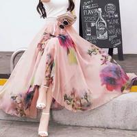 花柄プリント柄Aラインロングシフォンスカート ボヘミアン風ビーチスタイル ウエストゴム