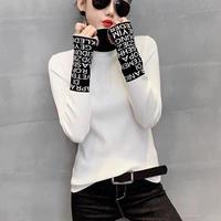 タイト 薄手 リブニットトップス 袖口 タートルネックロゴ セーター 4色