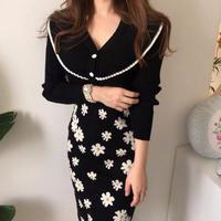 花柄 ハイウエスト 可愛い フラワー knitスカート タイト