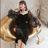 バルーンチュール袖シースルーブラックドレス
