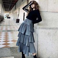 long casual skirt アシンメトリー プリーツ