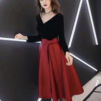 【 New 】a-line ribbon red black dress