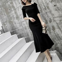 medium dress ブラック オフショルダー リボン 半袖