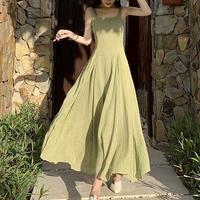 フレアマキシワンピース リゾートバックコンシャスGreenドレス