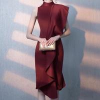レッド ワンピースドレス パーティー ワンショルダー フリルライン 小さいサイズ