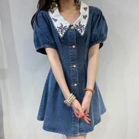 襟刺繍ふんわり袖デニムフレアAラインワンピース