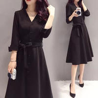 ブラック フォーマル Aライン ワンピース お呼ばれ ドレス