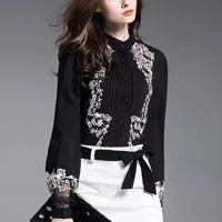エレガント 刺繍 長袖ブラウス シースルー ブラックシャツ