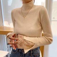 リブ 薄手 春トレンド 袖口レース 半ハイネック knit タイト