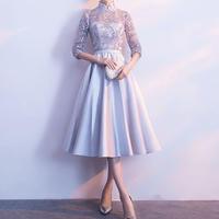 ハイネック シースルー  チャイナドレス風 刺繍ミディアムドレスワンピース  三色