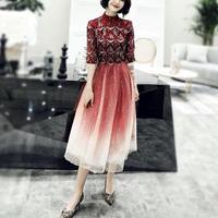ハイネック 異素材 チュールスカート 結婚式 レッド パーティー