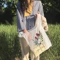 花柄シースルー刺繍トートエコバッグ