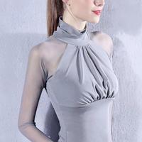 インナー ハイネックブラウスシャツ 透け感 シースルー セクシー 6色