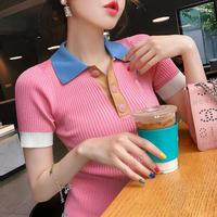 カラフルな襟付きカジュアルタイト半袖プリーツTシャツ