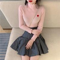 ハイネックハート柄knit