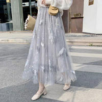 Aラインロングチュール刺繍 ハネ柄透けスカート ウエストゴム 3色