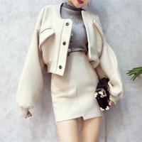 セットアップ ジャケット+ミニ丈スカート 大人カジュアルツーピース 二色