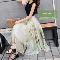 花柄 フラワー 刺繍 Aライン ロング丈 スカート シフォン ウエストゴム