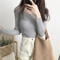 シンプル 綿 薄手 秋冬コーデ vネック インナー ファッション 4color