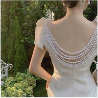 バックパールエレガントな肩リボンワンピースドレス