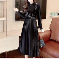 【NEW 】膝丈ドレス ワンピース ベロア ウエストマーク ベルト付き 3色