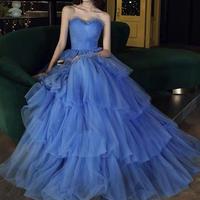 ブルーAライン4段チュールロングドレス