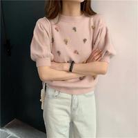 flower半袖knit 立体花柄 春ファッション