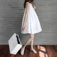 Aライン ふんわり 韓国ファッション ノースリーブ ミニワンピース 2色