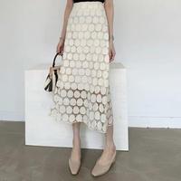 レースロングスカート 花柄刺繍 Aライン お洒落 フレア