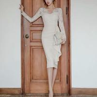 ホワイト レース 異素材MIX アシンメトリー セクシー ドレス