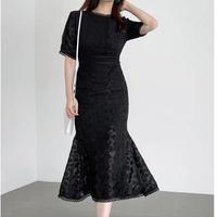 タイトワンピースマーメイドレース刺繍半袖パーティー披露宴ドレス 2色