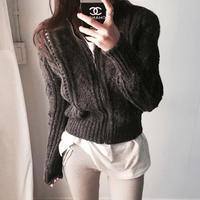 ショート ニット 長袖ジャケット タイトデザイン ざっくり 2色