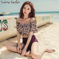 水着 ビキニ レディース 人気 通販  セクシー  韓国 ハナ柄 かわいい  パープル 大人 格安