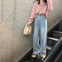 ジーンズ オルチャン ワイドパンツ デニム ハイウエスト ストレート 通販 格安 レディース 韓国 ファッション