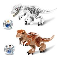 ジュラシックワールド  LEGO レゴ風 巨大 恐竜2体と転がる乗物2個 レゴ 互換 恐竜 ティラノレックス インドミナス