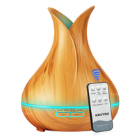 加湿器 超音波式 空気清浄機 アロマ ディフューザ LEDライト 7色 木目 花瓶型 乾燥・肌荒れ・風邪・花粉症予防 オフィス インテリア