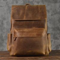 上層牛革メンズバックパック ビジネス バッグパック 旅行バッグ ハンドメイド バックパック スクールバッグ コンピューターバッグ ポケット デイリーユース シンプル リュックサック デザイナーバッグ