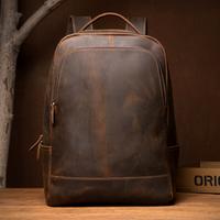 上層牛革メンズバックパック ビジネス デイリーユース バッグパック 一口バッグ 旅行バッグ ハンドメイド バックパック スクールバッグ コンピューターバッグ シンプル