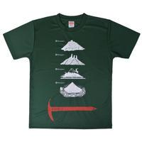 安全登山ドライTシャツ グリーン キッズ150 160(女性向けサイズ)