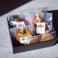 üks【ホワイトデー焼菓子ギフトボックス】スクエア(M)フィナンシェ2種、クッキー2種、ケイク1種