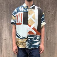 Rayon Hand Print Shirt ( Blue Size:L)