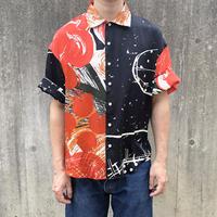 Rayon Hand Print Shirt ( Black Size:L)