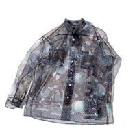Organdy big shirt brown