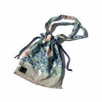 Hand print Drawstring bag green (M)