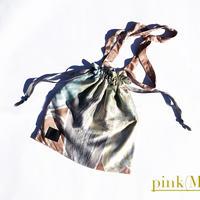 Hand print Drawstring bag pink (M)