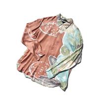 Rayon Hand Print Long Sleeve Shirt  ( Pink  M ,  L ,  LL size )