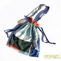 Hand print Drawstring bag orange(M)