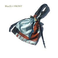 Hand print Drawstring bag (S)blue