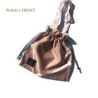 Hand print Drawstring bag pink(S)