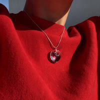 clear glass heart / silver925 snake necklace